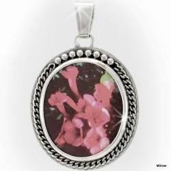 Srebrny wisiorek z kwiatem - na porcelanie