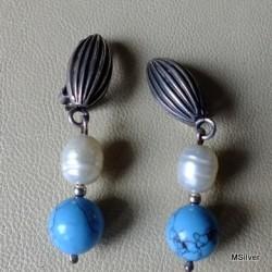 30. Klipsy srebrne z turkusem i perłą