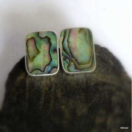 10. Kolczyki srebrne z zieloną masą perłową