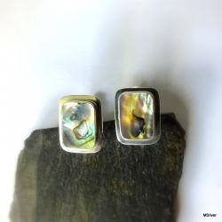 31. Srebrne spinki do mankietów z zieloną masą perłową