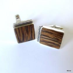 28. Srebrne spinki do mankietów z  drewnem egzotycznym