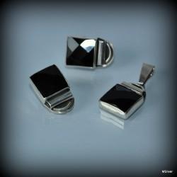Klipsy srebrne z kwadratowym fasetowanym onyksem