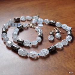 Komplet biżuterii z kwarcu lodowego
