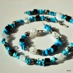 Komplet biżuterii - niebieski howlit z kwarcem