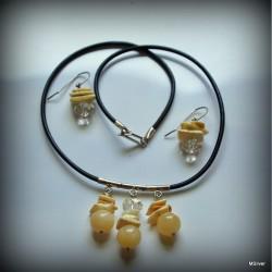 Komplet biżuterii z kalcytu