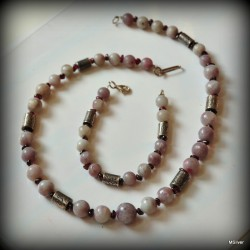 Komplet biżuterii z fioletowego jadeitu i granatów